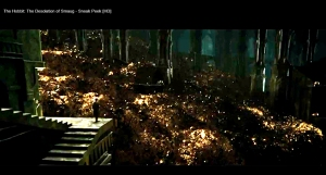 7-THDoS-SneakPeak--Bilbo-in-the-dragon-Smaugs-lair-deep-in-Erebor-Nov0413GratianaLovelaceCap