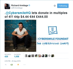 RichardArmitageTweet--44BDayDonations-toCyberSmileFoundation_Aug2015RCA