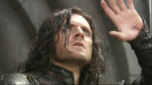 Richard Armitage portraying Sir Guy of Gisborne startled by a solar eclipse in Robin Hood, series 3, episode 1 (image courtesy of RANet, pix 197)